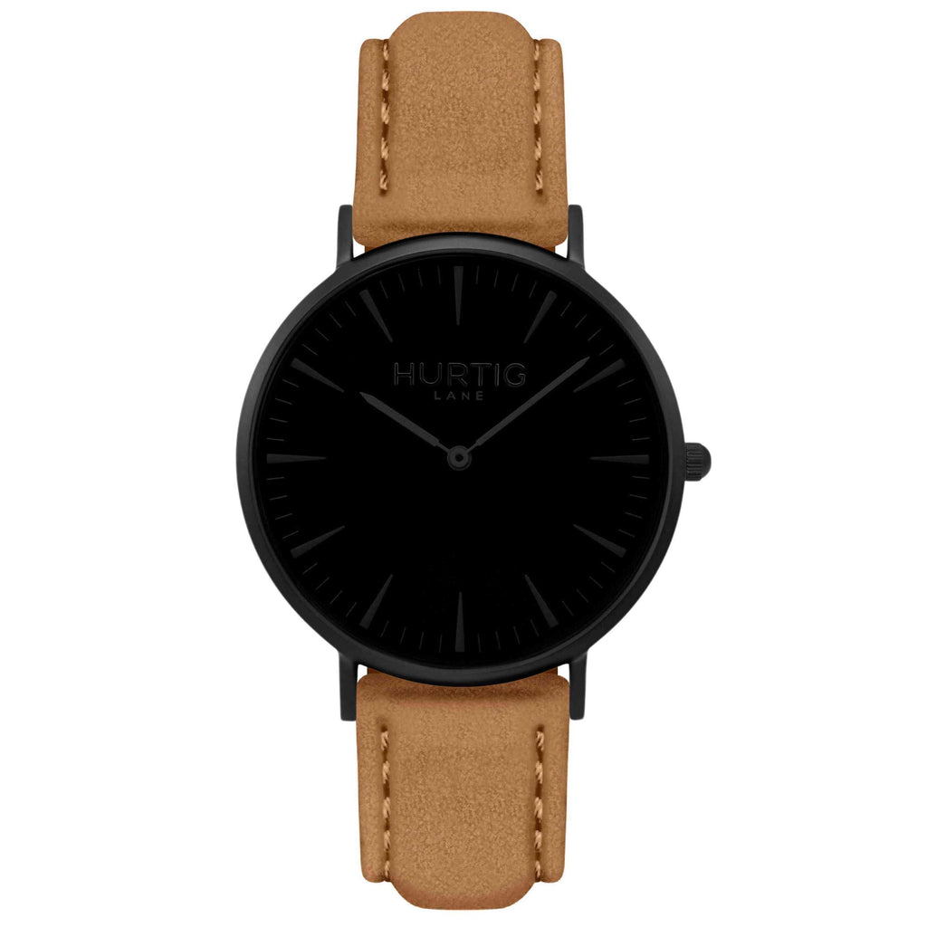 Hymnal Vegan Suede Watch All Black & Camel - Hurtig Lane - sustainable- vegan-ethical- cruelty free