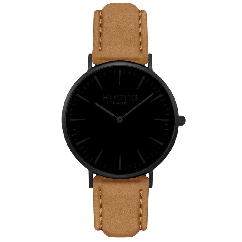Hymnal Vegan Suede Watch All Black & Duck Egg - Hurtig Lane - sustainable- vegan-ethical- cruelty free