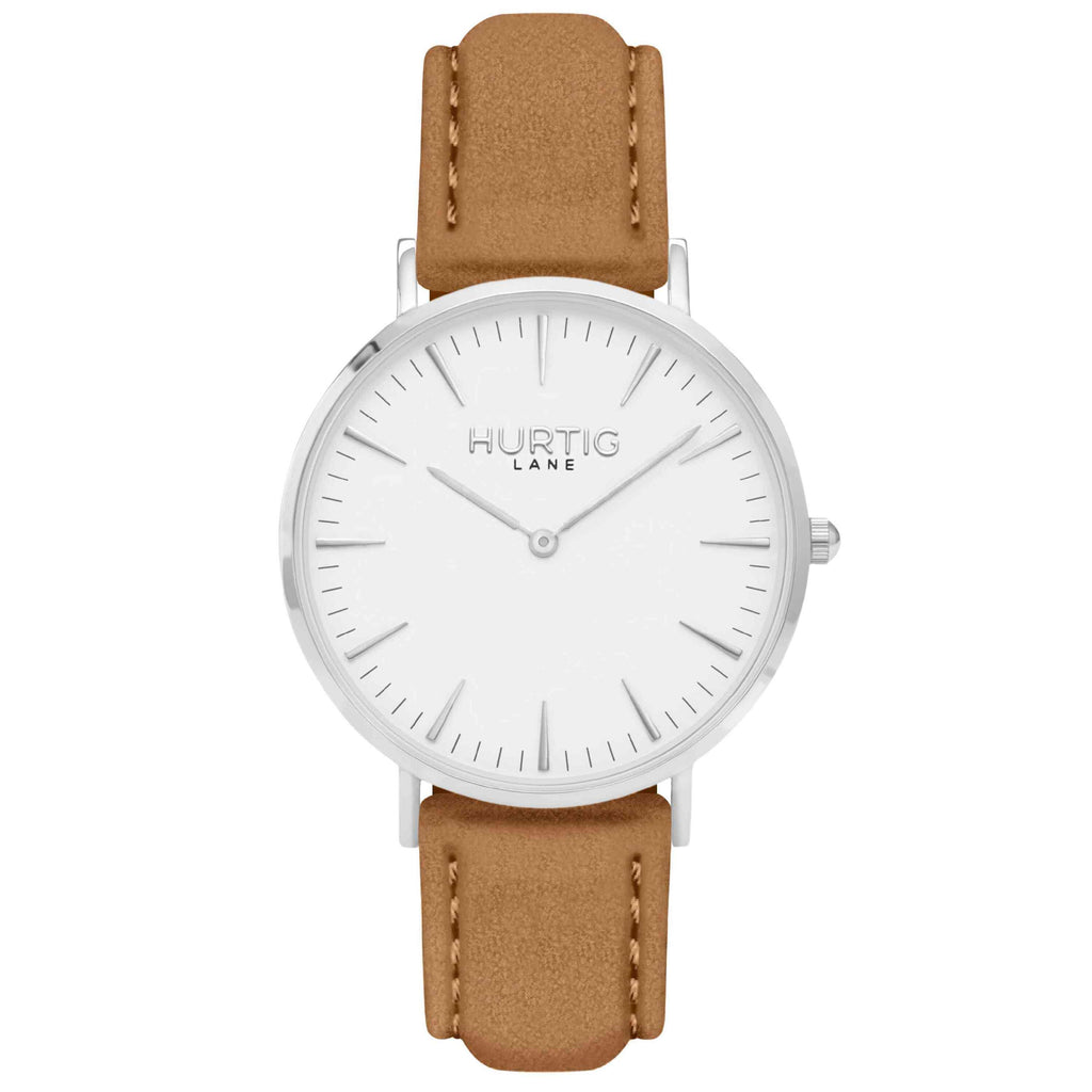 Hymnal Vegan Suede Watch Silver, White & Camel Brown Watch Hurtig Lane Vegan Watches