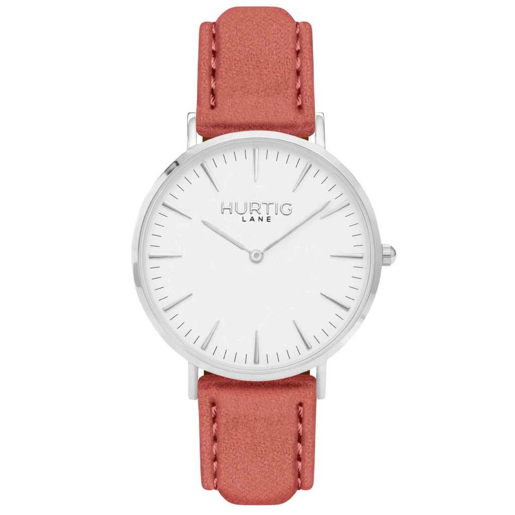 Hymnal Vegan Suede Watch Silver, White & Coral - Hurtig Lane - sustainable- vegan-ethical- cruelty free