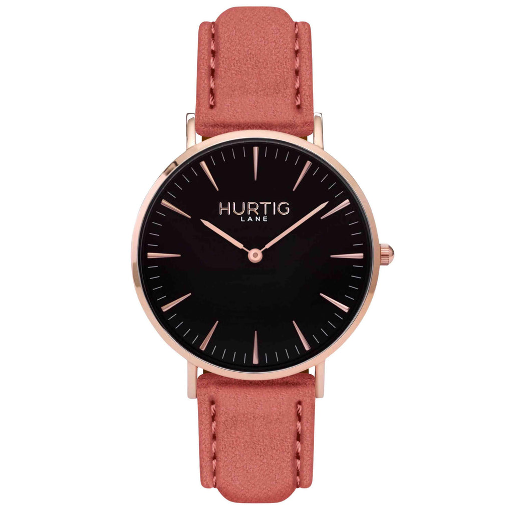 Hymnal Vegan Suede Watch Rose Gold, Black & Coral - Hurtig Lane - sustainable- vegan-ethical- cruelty free