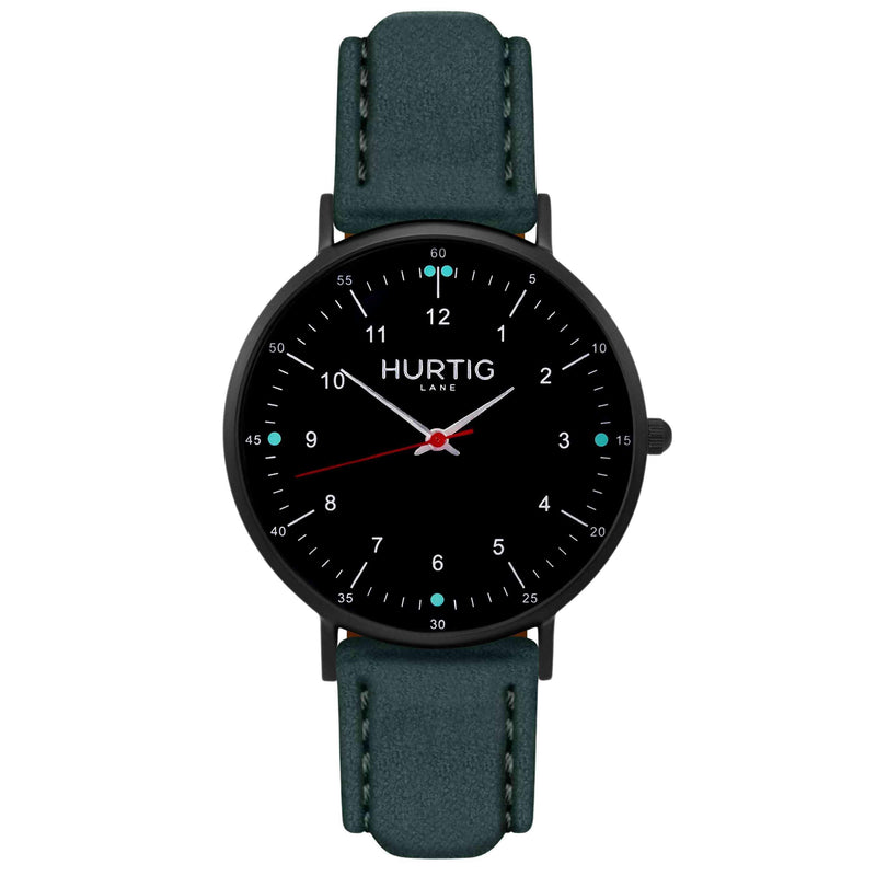 Moderno Vegan Suede Watch All Black & Camel Watch Hurtig Lane Vegan Watches