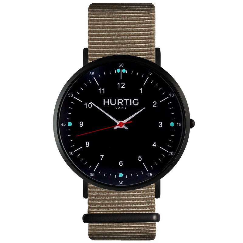 Moderna Vegan Nylon Watch Black/Black/Ocean Blue - hurtig-lane-vegan-watches