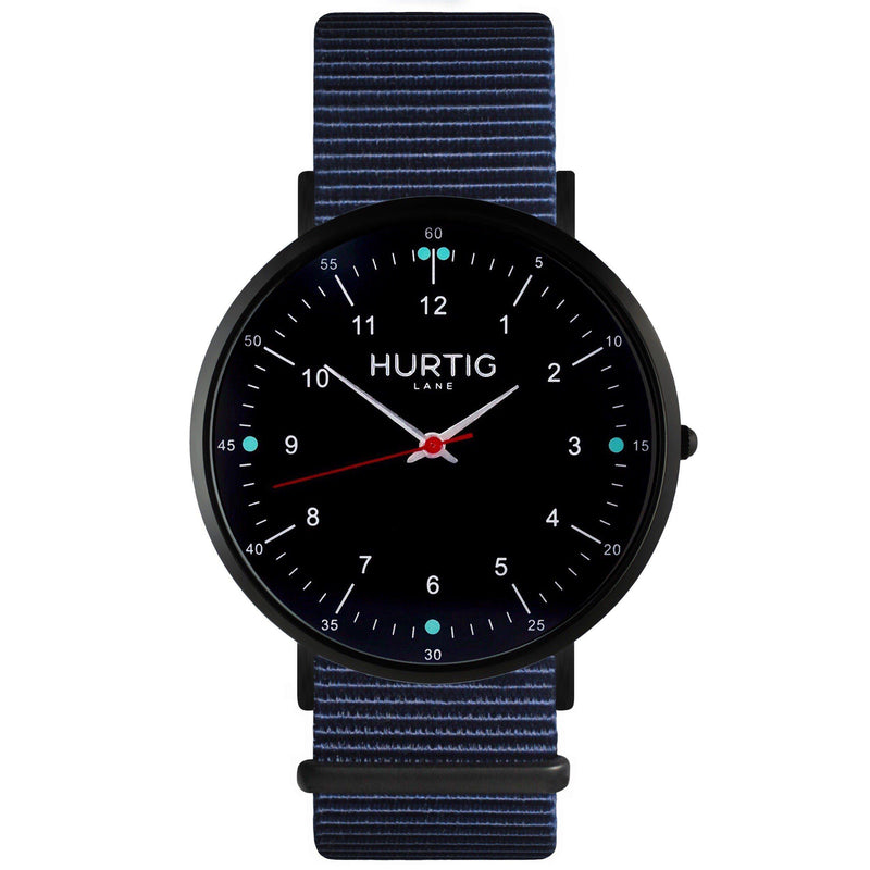 Moderna Vegan Nylon Watch Black/Black/Ocean Blue