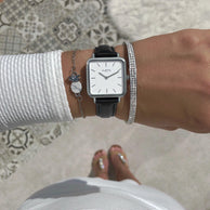 women's vegan square watch silver, white and black