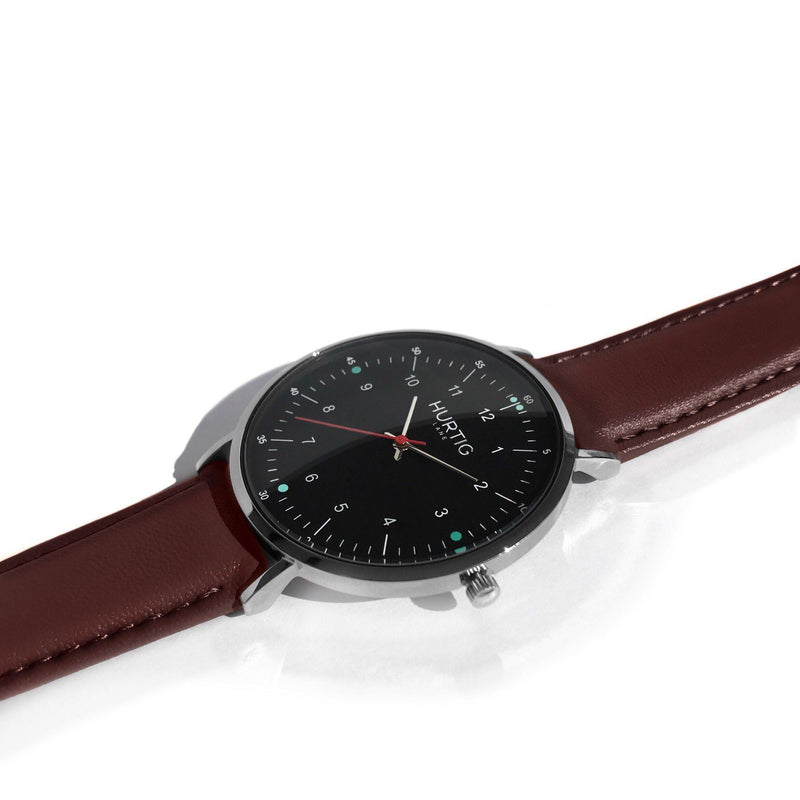Moderno Vegan Leather Watch Silver, Black & Chestnut Watch Hurtig Lane Vegan Watches