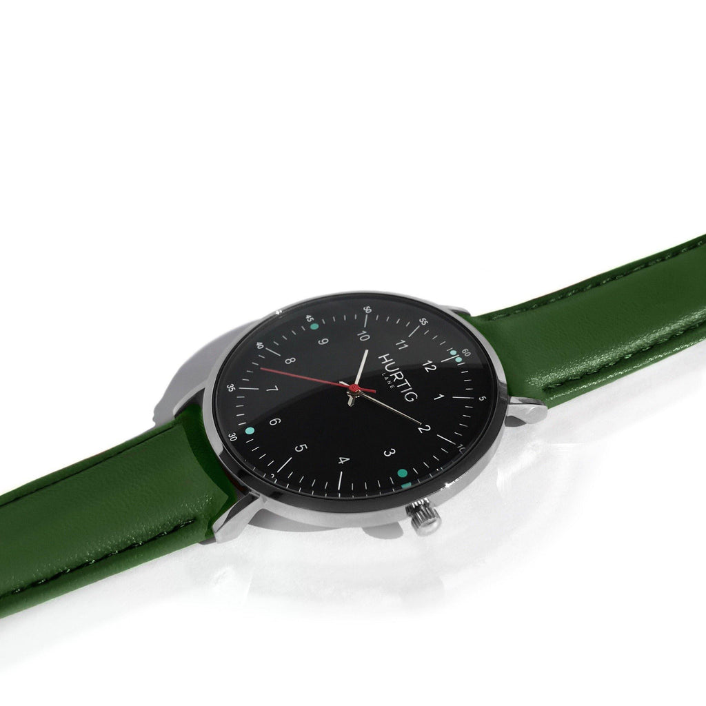 Moderna Vegan Leather Watch Silver, Black & Green