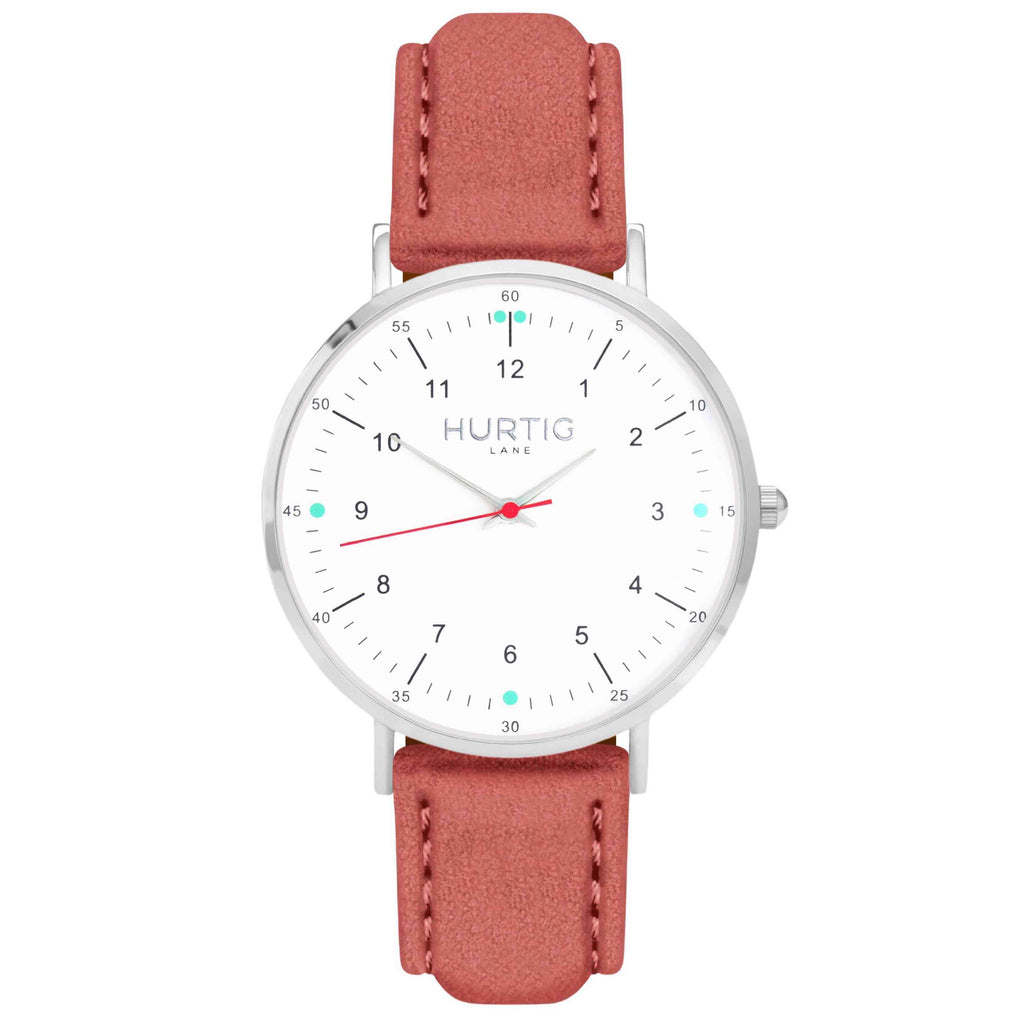 Moderna Vegan Suede Watch Silver, White & Coral Watch Hurtig Lane Vegan Watches
