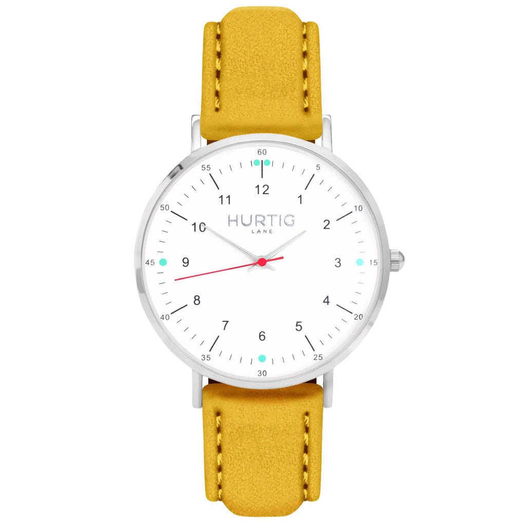 Moderna Vegan Suede Watch Silver, White & Mustard Watch Hurtig Lane Vegan Watches