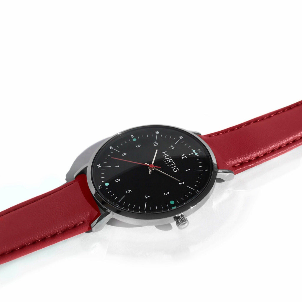 Moderna Vegan Leather Watch Silver, Black & Cherry Red