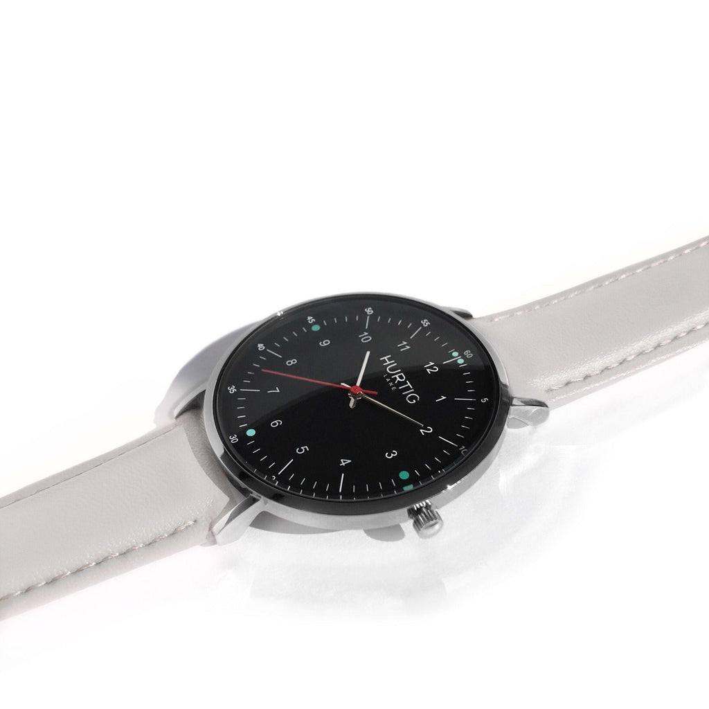 Moderna Vegan Leather Watch Silver, Black & Cloud