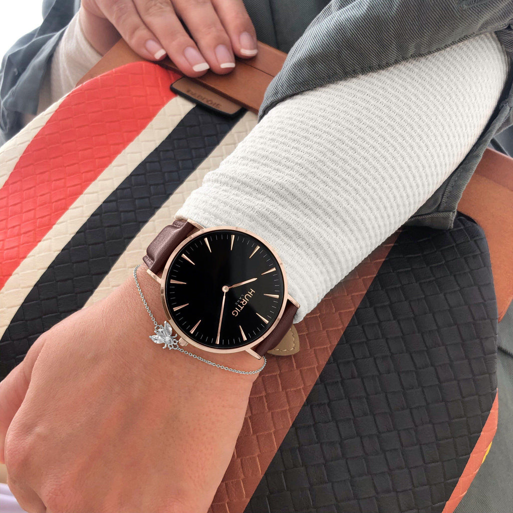 Mykonos Vegan Leather Watch Rose Gold, Black & Chestnut Watch Hurtig Lane Vegan Watches