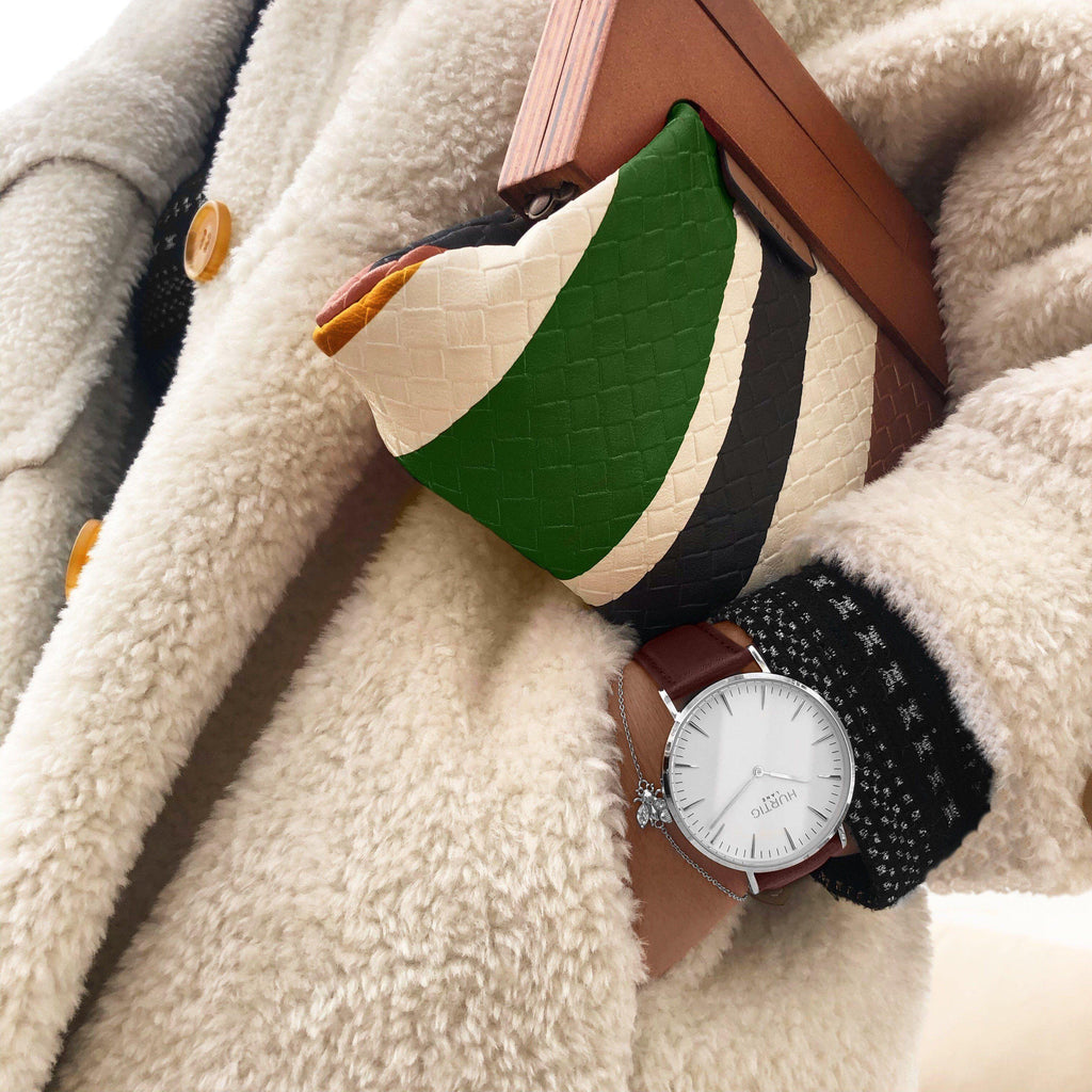 Mykonos Vegan Leather Watch Silver, White & Chestnut