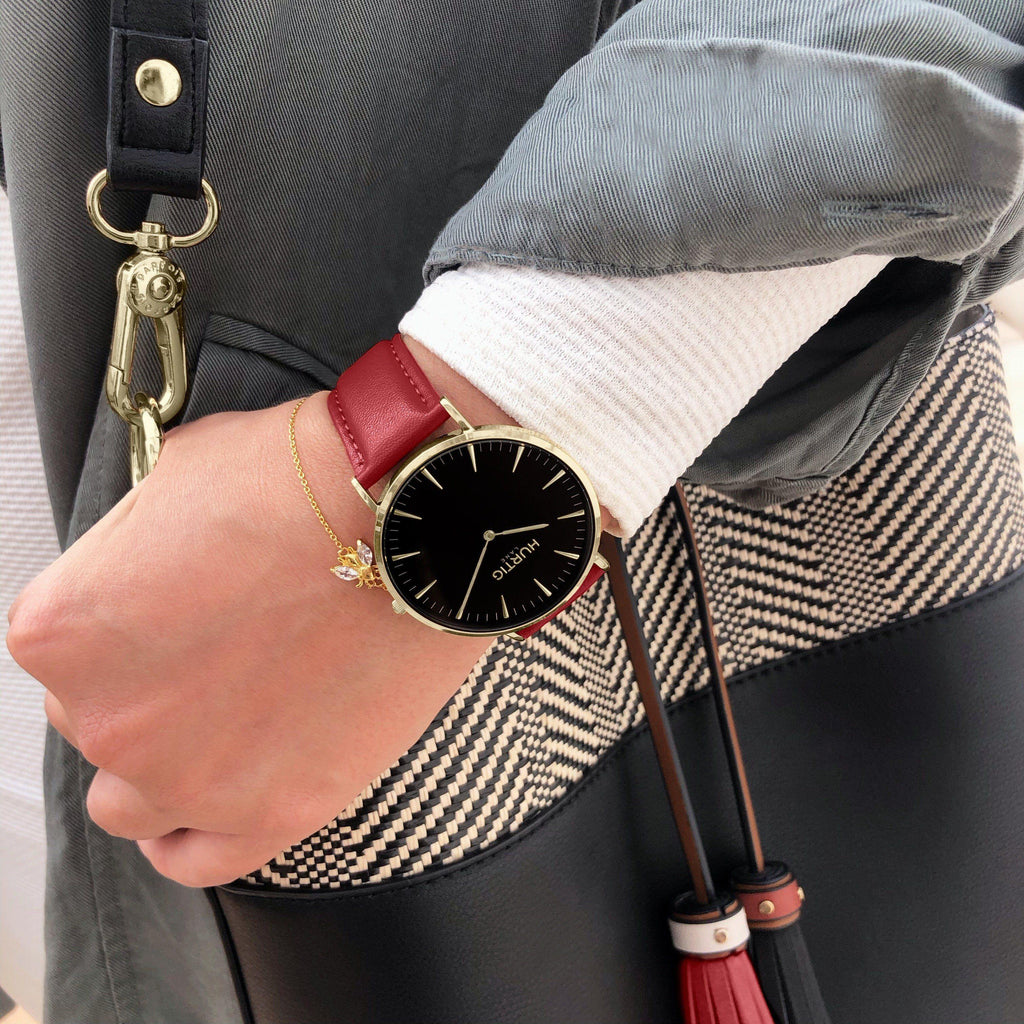 Mykonos Vegan Leather Watch Gold, Black & Cherry Watch Hurtig Lane Vegan Watches