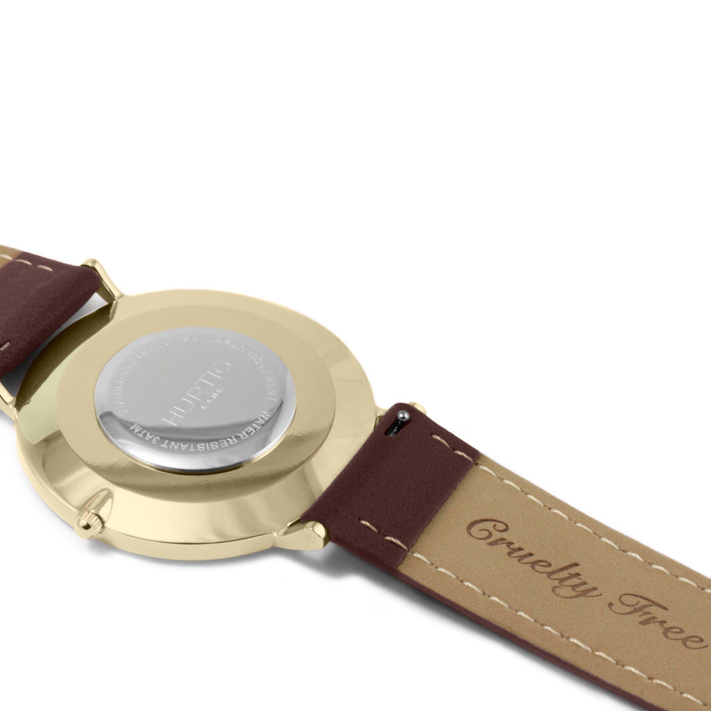 Moderna Vegan Leather Watch Gold, Black & Chestnut - Hurtig Lane - sustainable- vegan-ethical- cruelty free