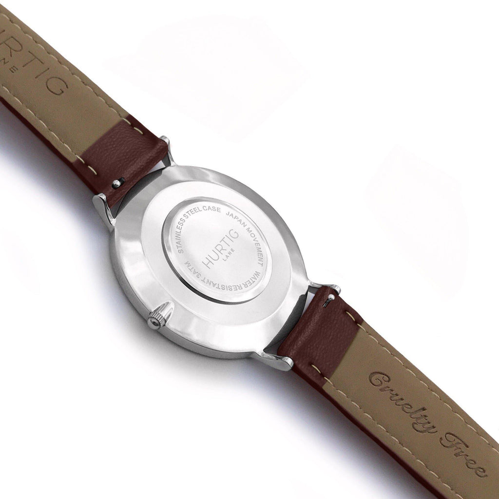 Mykonos Vegan Leather Watch Silver, Grey & Chestnut - Hurtig Lane - sustainable- vegan-ethical- cruelty free
