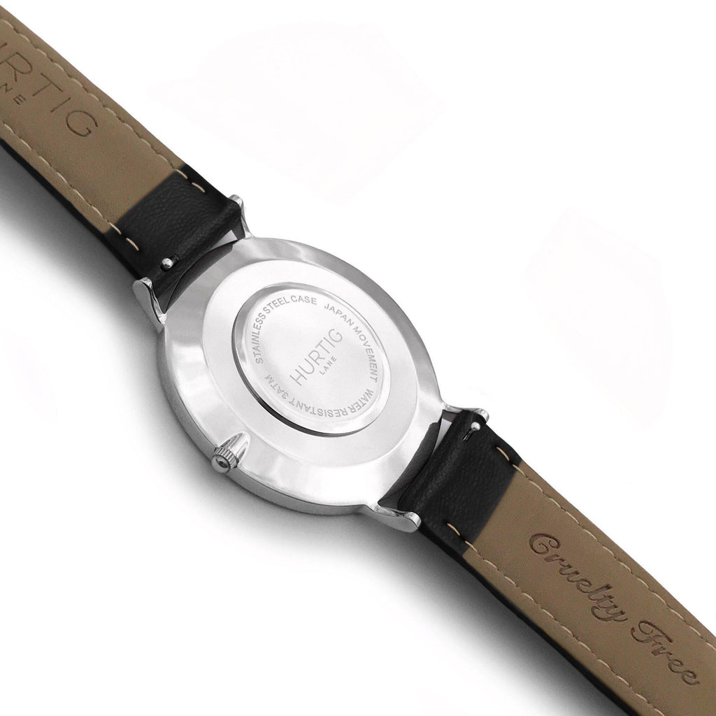 Mykonos Vegan Leather Watch Silver, Grey & Black - Hurtig Lane - sustainable- vegan-ethical- cruelty free
