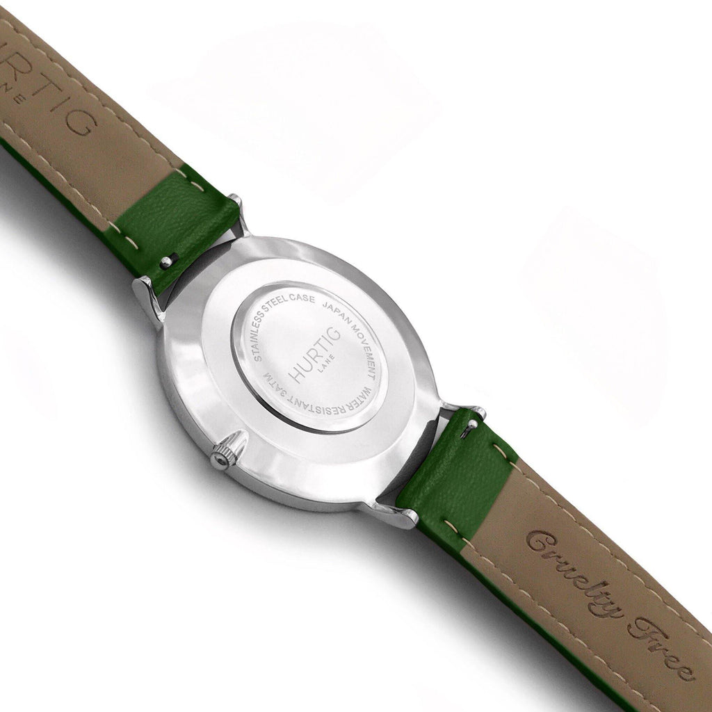 Mykonos Vegan Leather Watch Silver, White & Green - Hurtig Lane - sustainable- vegan-ethical- cruelty free
