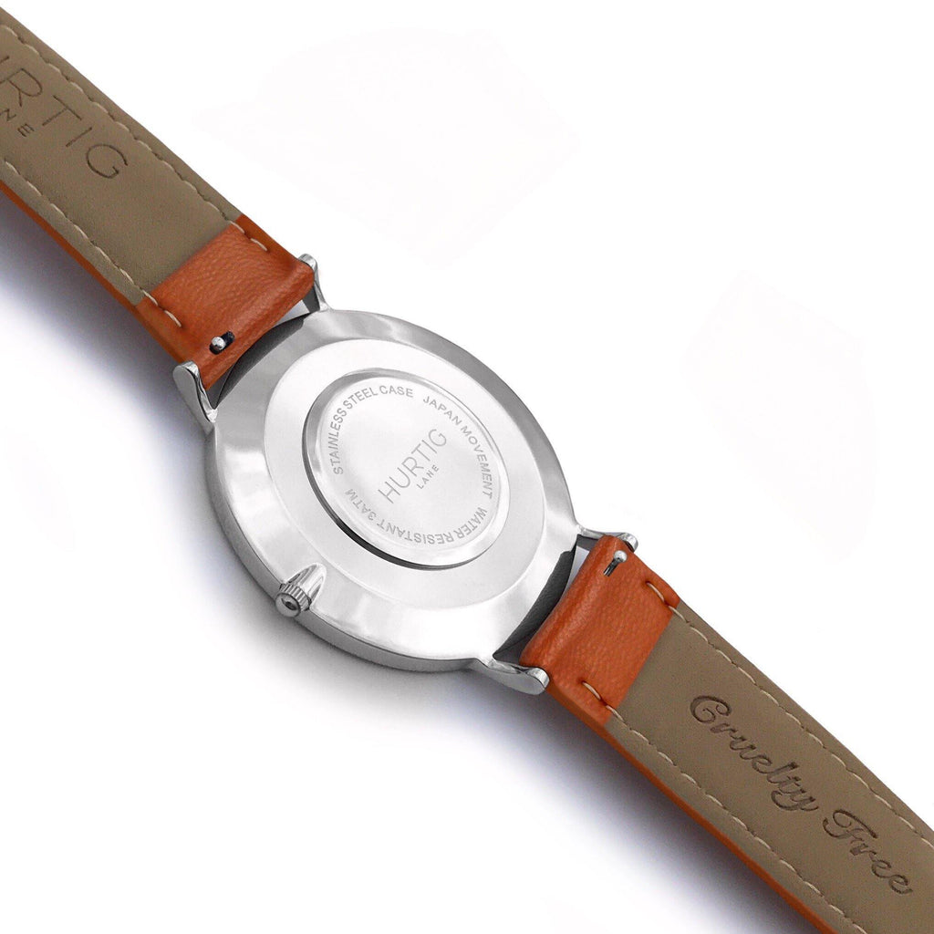 Mykonos Vegan Leather Watch Silver, Grey & Tan - Hurtig Lane - sustainable- vegan-ethical- cruelty free