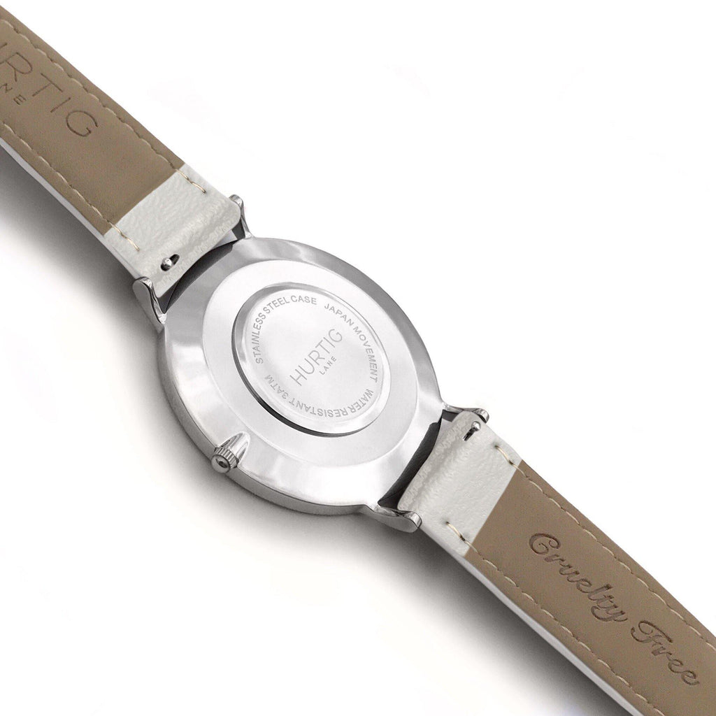 Mykonos Vegan Leather Watch Silver, Grey & Grey - Hurtig Lane - sustainable- vegan-ethical- cruelty free