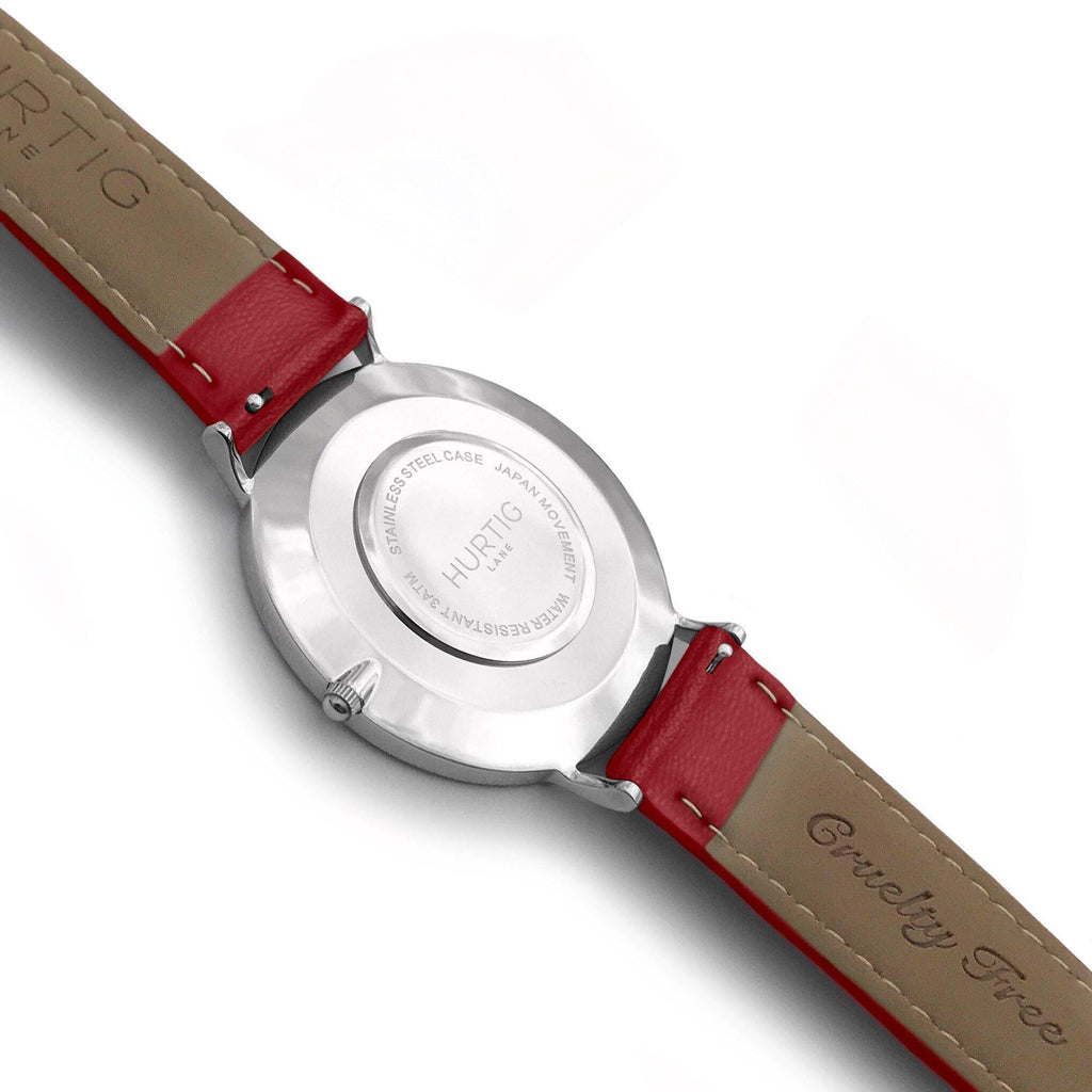 Mykonos Vegan Leather Watch Silver, Grey & Red - Hurtig Lane - sustainable- vegan-ethical- cruelty free