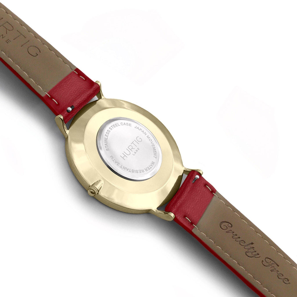 Moderna Vegan Leather Watch Gold, Black & Cherry - Hurtig Lane - sustainable- vegan-ethical- cruelty free