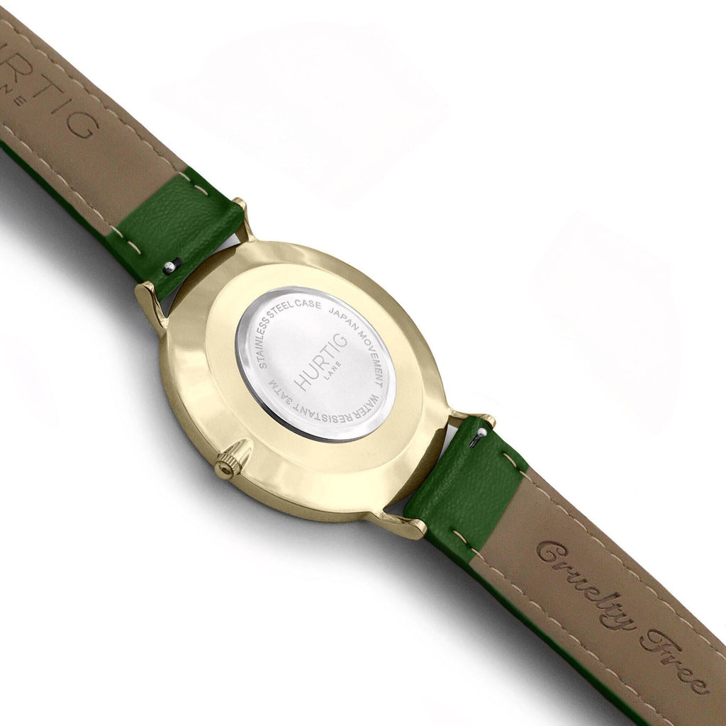 Mykonos Vegan Leather Watch Gold, Black & Green - Hurtig Lane - sustainable- vegan-ethical- cruelty free