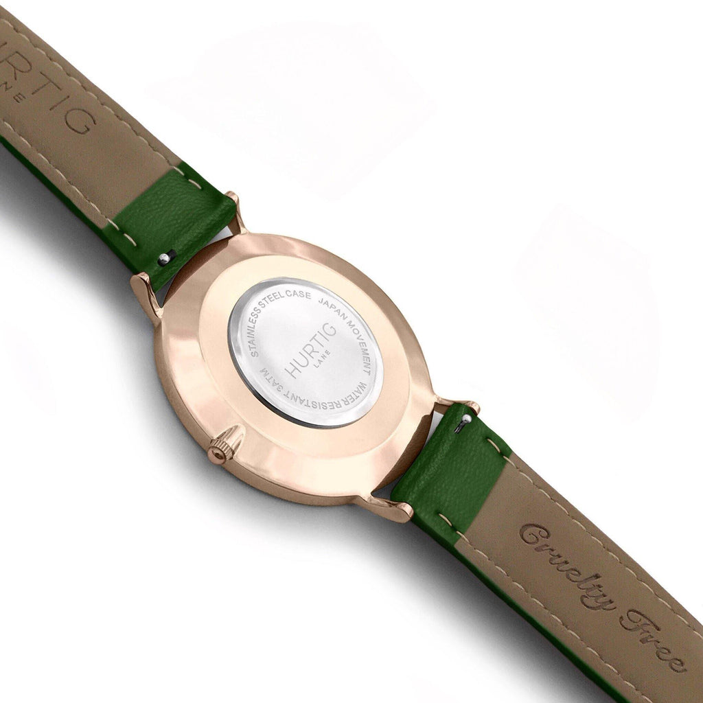 Mykonos Vegan Leather Watch Rose Gold, Black & Green - Hurtig Lane - sustainable- vegan-ethical- cruelty free