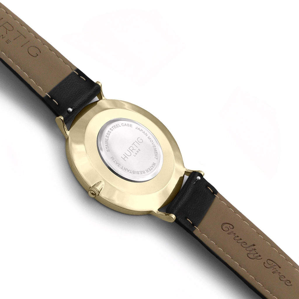 Moderna Vegan Leather Watch Gold, Black & Black - Hurtig Lane - sustainable- vegan-ethical- cruelty free