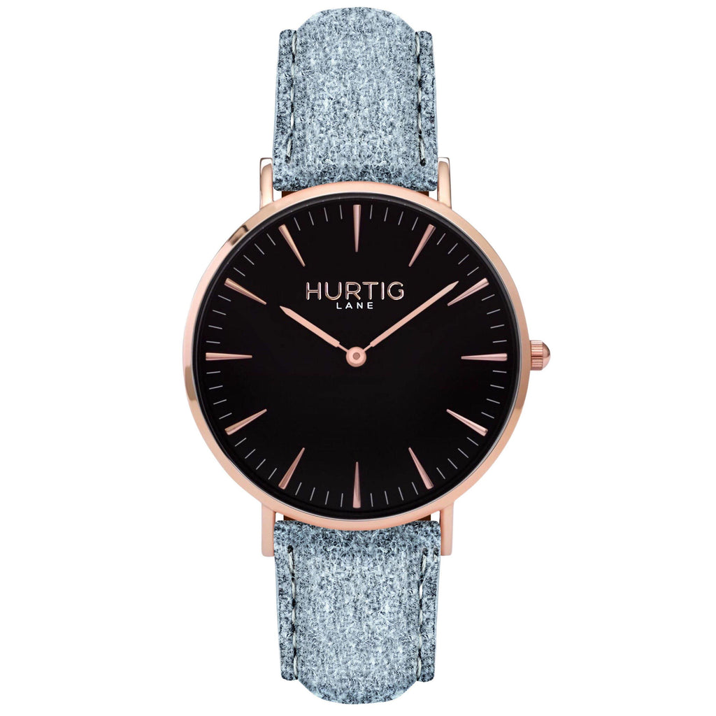 Hymnal Vegan Tweed Watch Rose Gold, Black & Grey Watch Hurtig Lane Vegan Watches