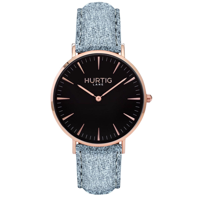 Hymnal Vegan Suede Watch Rose Gold, Black & Berry Watch Hurtig Lane Vegan Watches