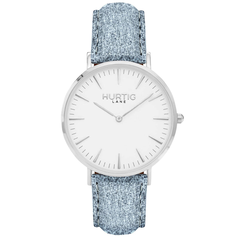 Hymnal Vegan Watch Tweed Silver, White & Grey Watch Hurtig Lane Vegan Watches