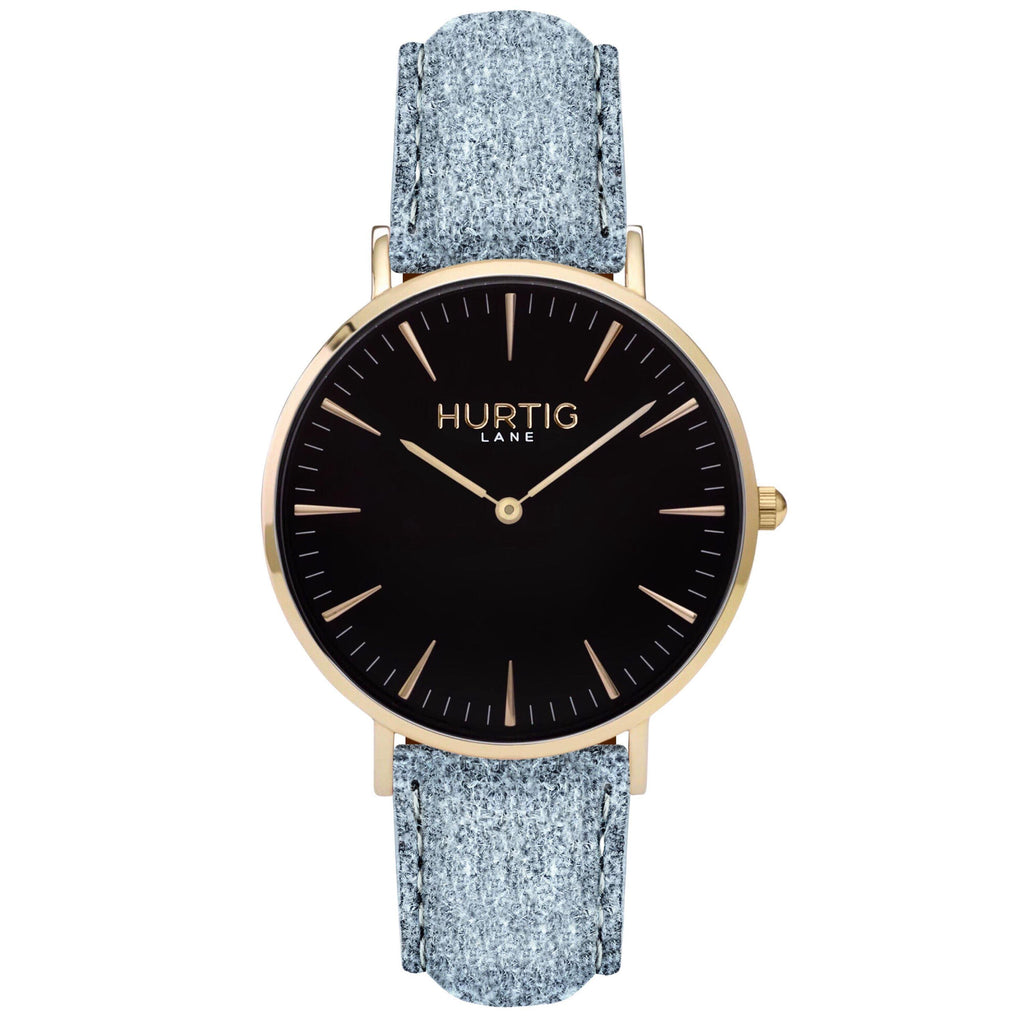 Hymnal Vegan Watch Tweed Gold, Black & Grey Watch Hurtig Lane Vegan Watches