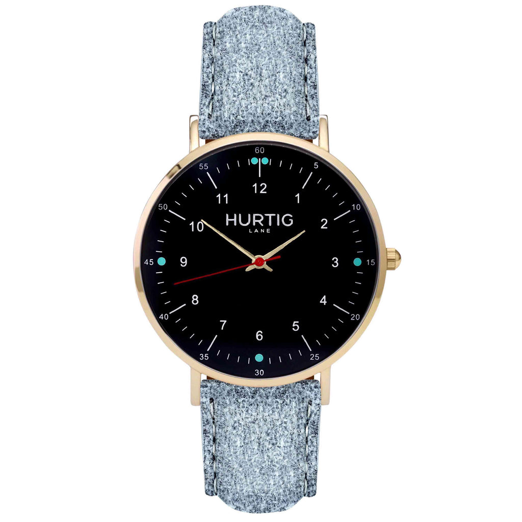 Moderna Vegan Tweed Watch Gold, Black & Grey Watch Hurtig Lane Vegan Watches