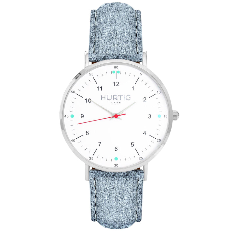 Moderno Vegan Tweed Watch Silver, White & Grey Watch Hurtig Lane Vegan Watches