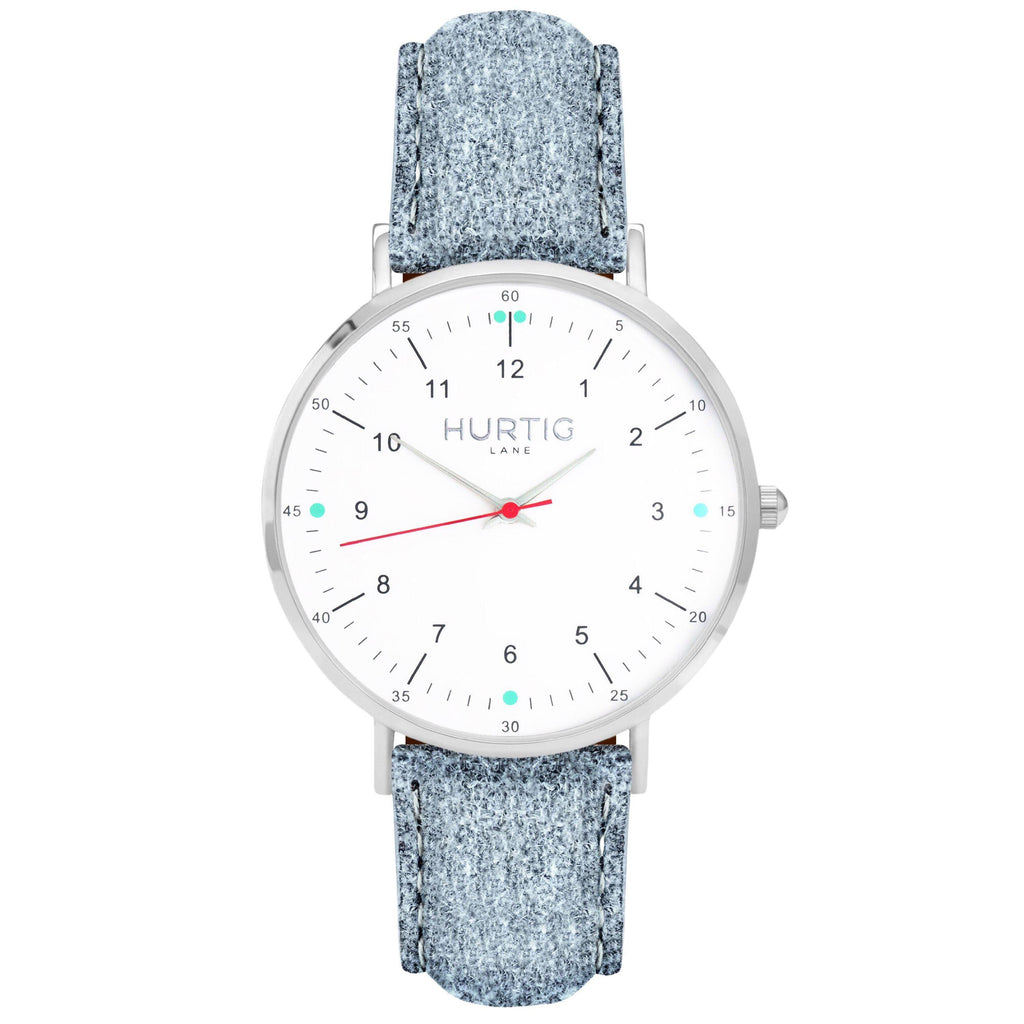 Moderna Vegan Tweed Watch Silver, White & Grey Watch Hurtig Lane Vegan Watches
