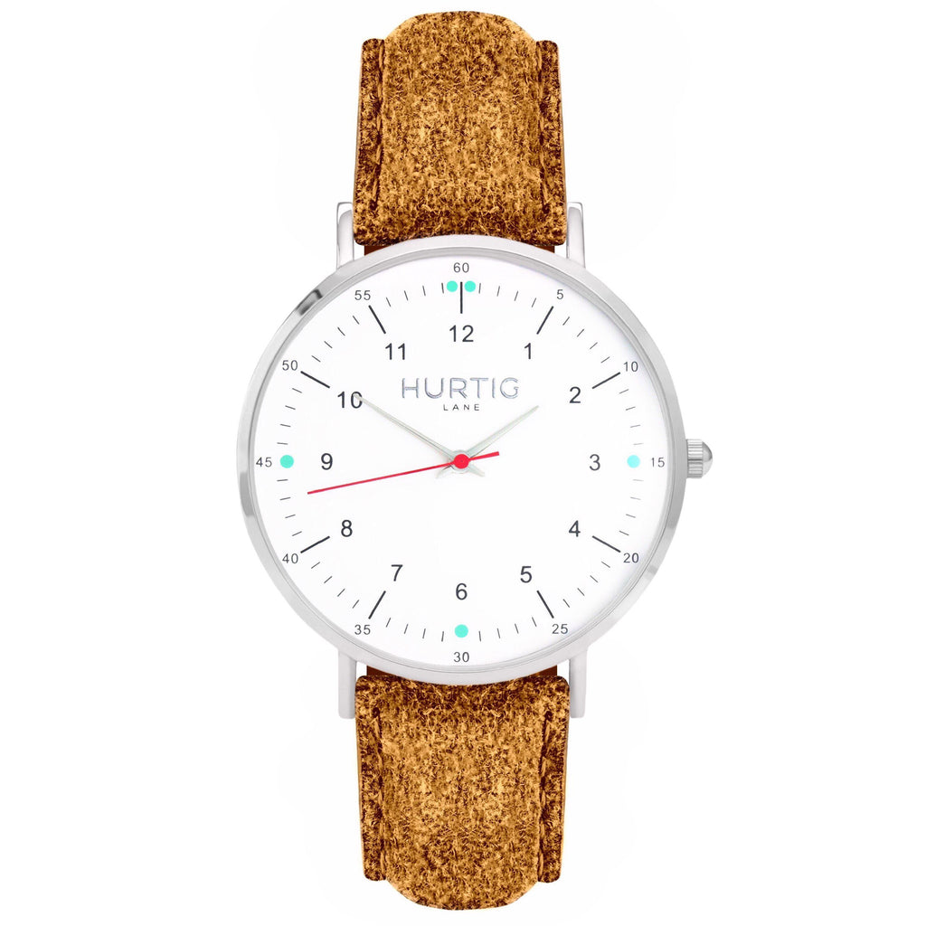 Moderna Vegan Tweed Watch Silver, White & Camel Watch Hurtig Lane Vegan Watches