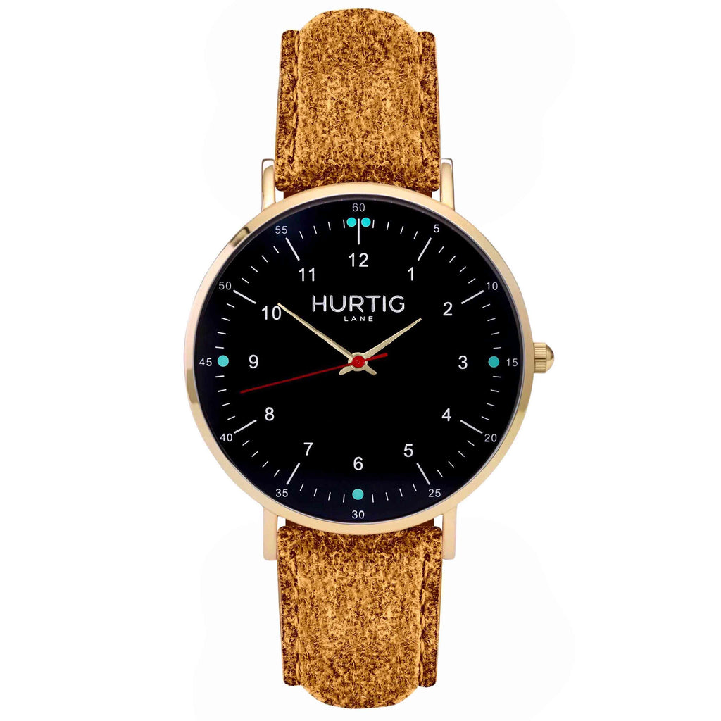 Moderna Vegan Tweed Watch Gold, Black & Camel - Hurtig Lane - sustainable- vegan-ethical- cruelty free