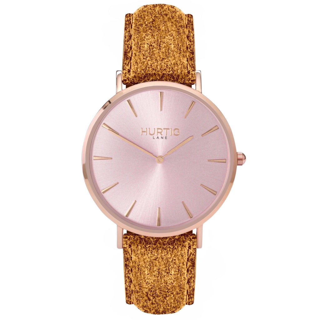 Hymnal Vegan Watch Tweed All Rose Gold & Camel Brown - Hurtig Lane - sustainable- vegan-ethical- cruelty free