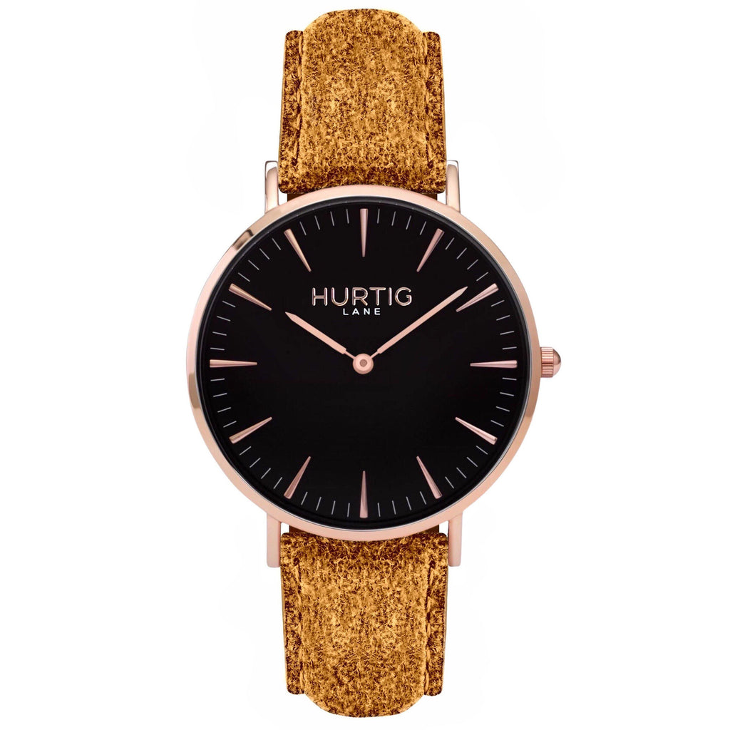 Hymnal Vegan Tweed Watch Rose Gold, Black & Camel - Hurtig Lane - sustainable- vegan-ethical- cruelty free