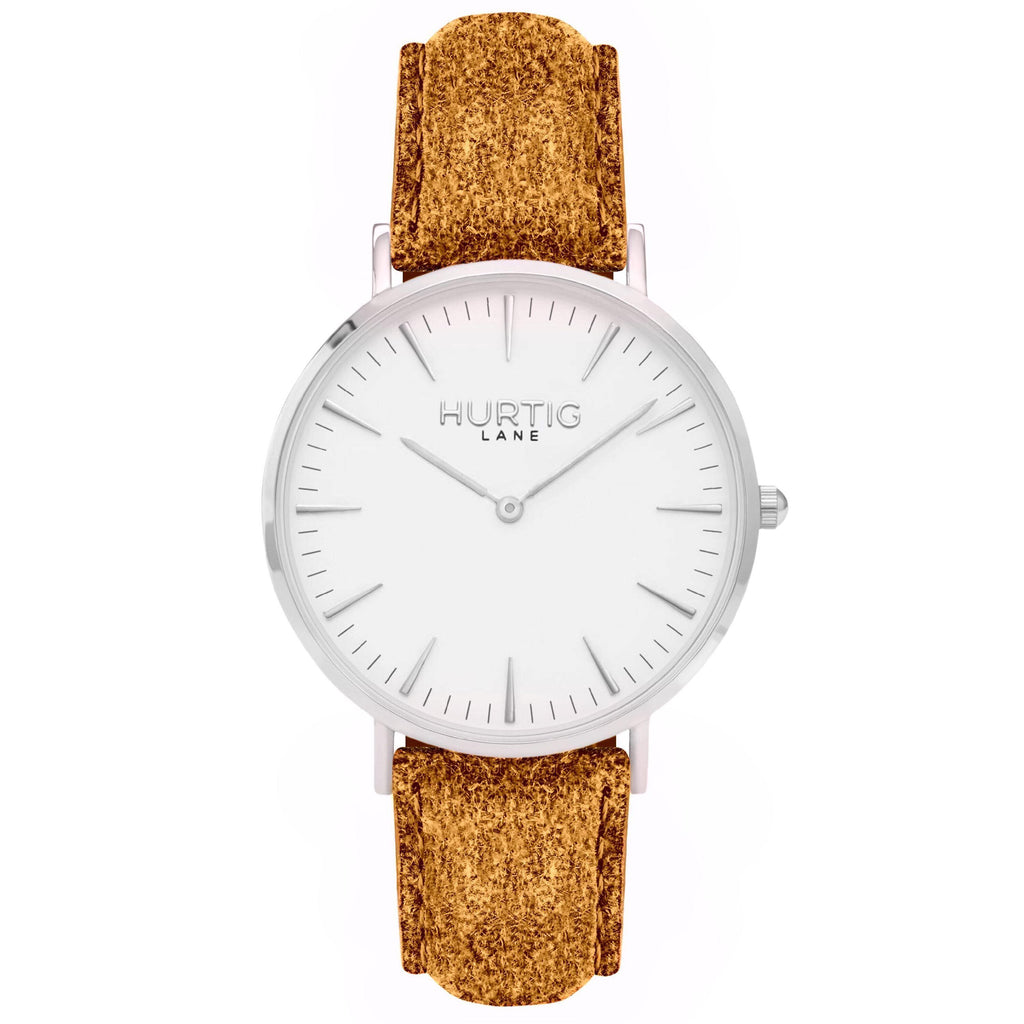 Hymnal Vegan Watch Tweed Silver, White & Camel Brown - Hurtig Lane - sustainable- vegan-ethical- cruelty free
