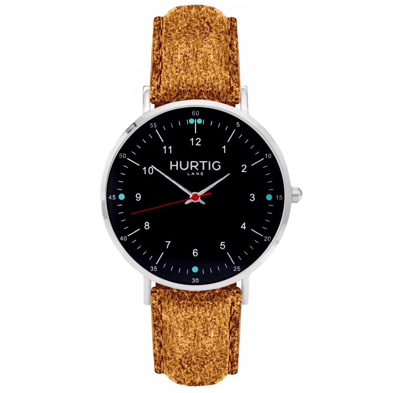 Moderno Vegan Suede Watch Silver, Black & Coral Watch Hurtig Lane Vegan Watches