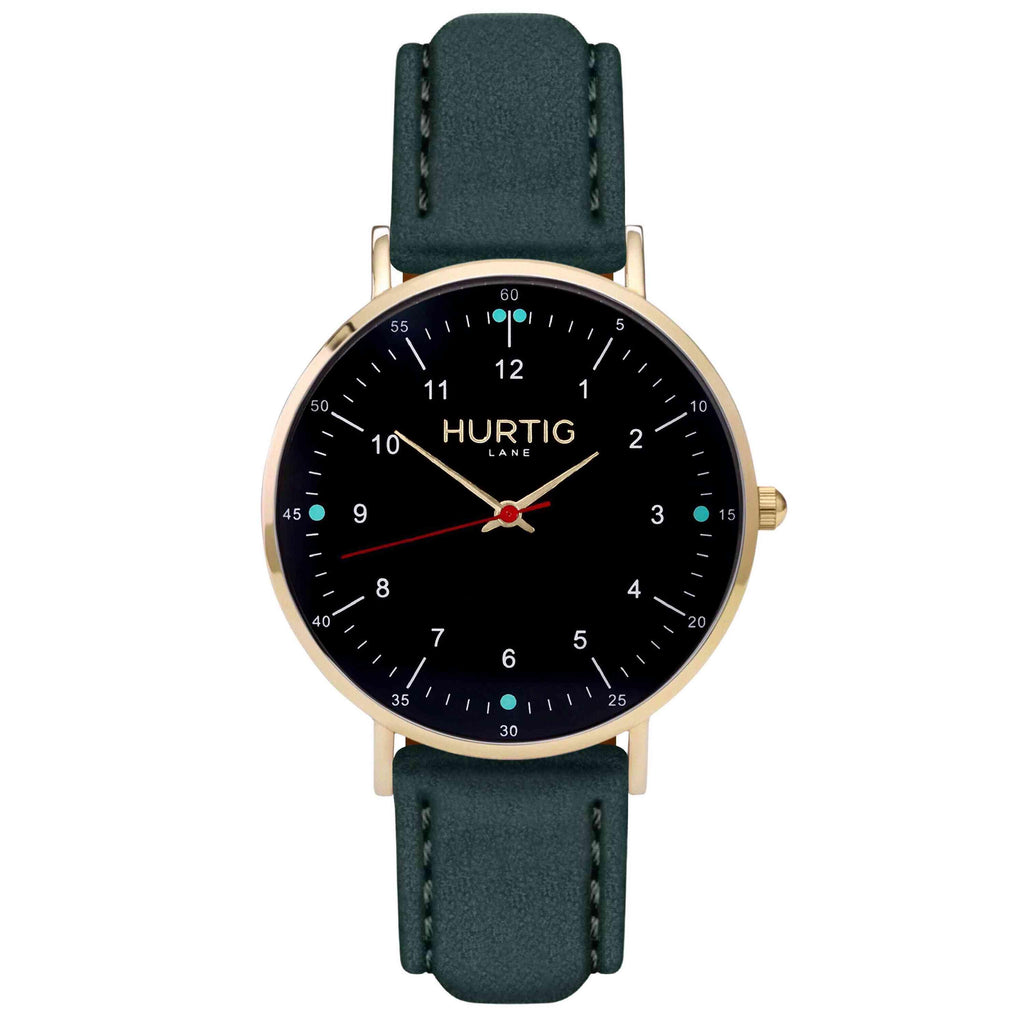 Moderno Vegan Suede Watch Gold, Black & Forest Green Watch Hurtig Lane Vegan Watches