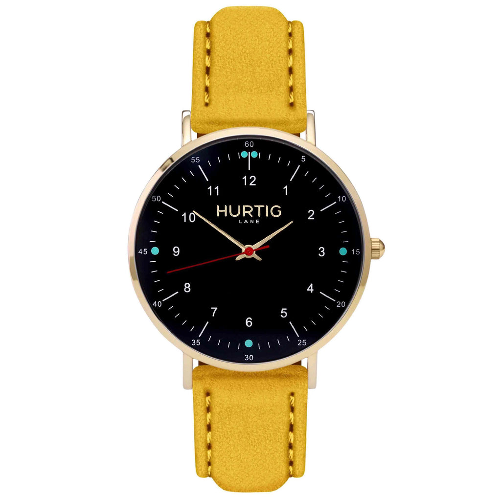 Moderna Vegan Suede Gold, Black & Mustard Yellow Watch Hurtig Lane Vegan Watches