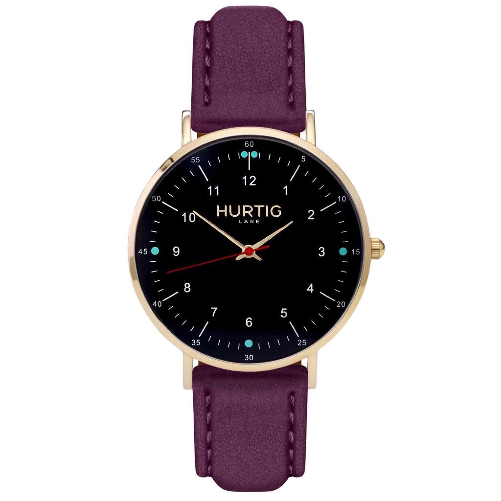 Moderna Vegan Suede Watch Gold, Black & Berry Watch Hurtig Lane Vegan Watches