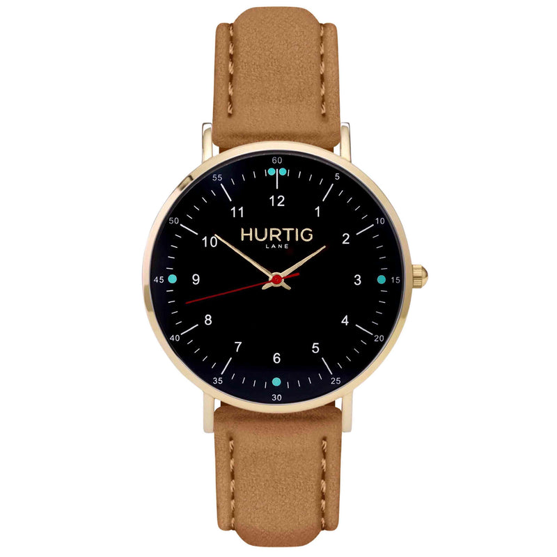 Moderna Vegan Suede Gold, Black & Duck Egg Watch Hurtig Lane Vegan Watches