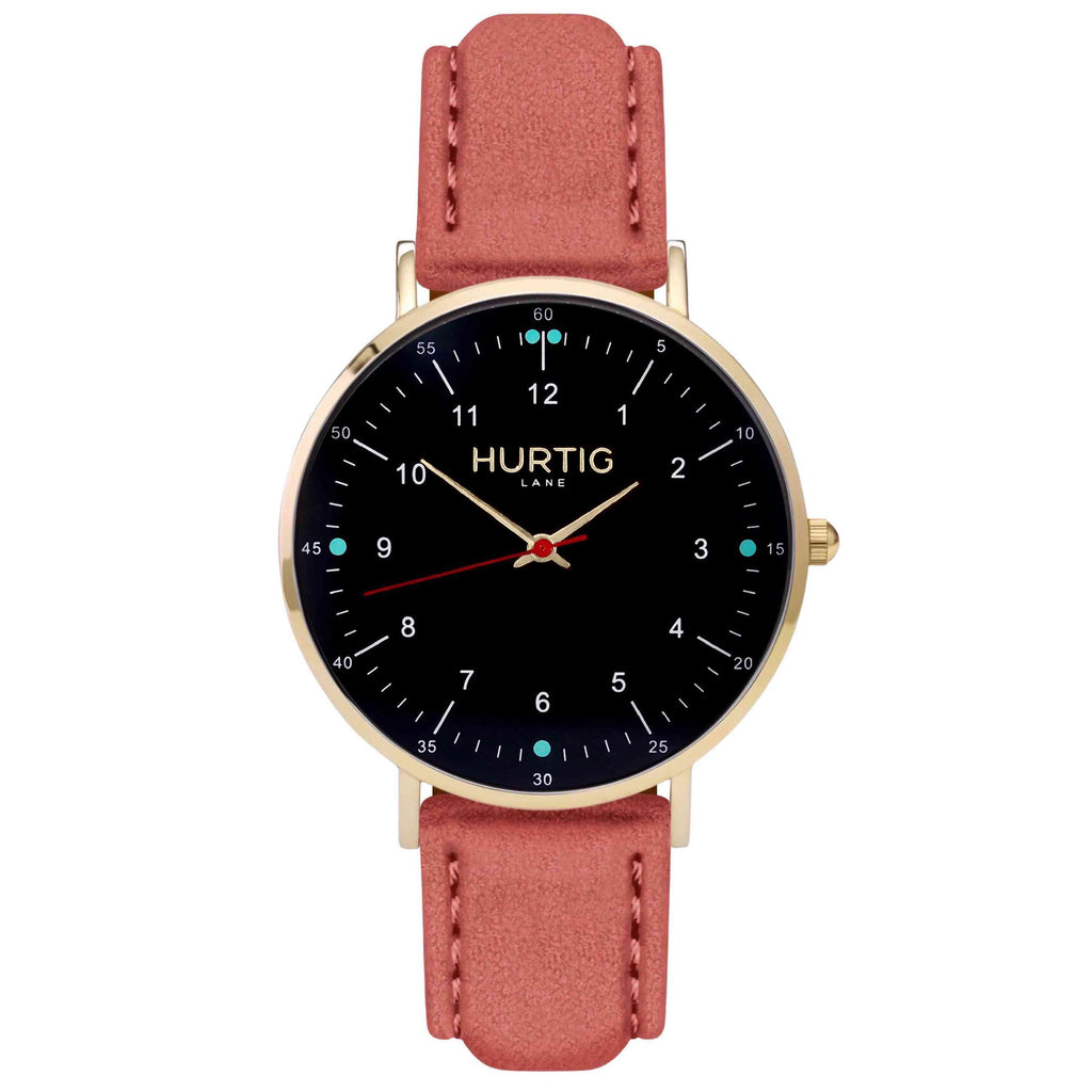 Moderna Vegan Suede Watch Gold, Black & Coral Watch Hurtig Lane Vegan Watches