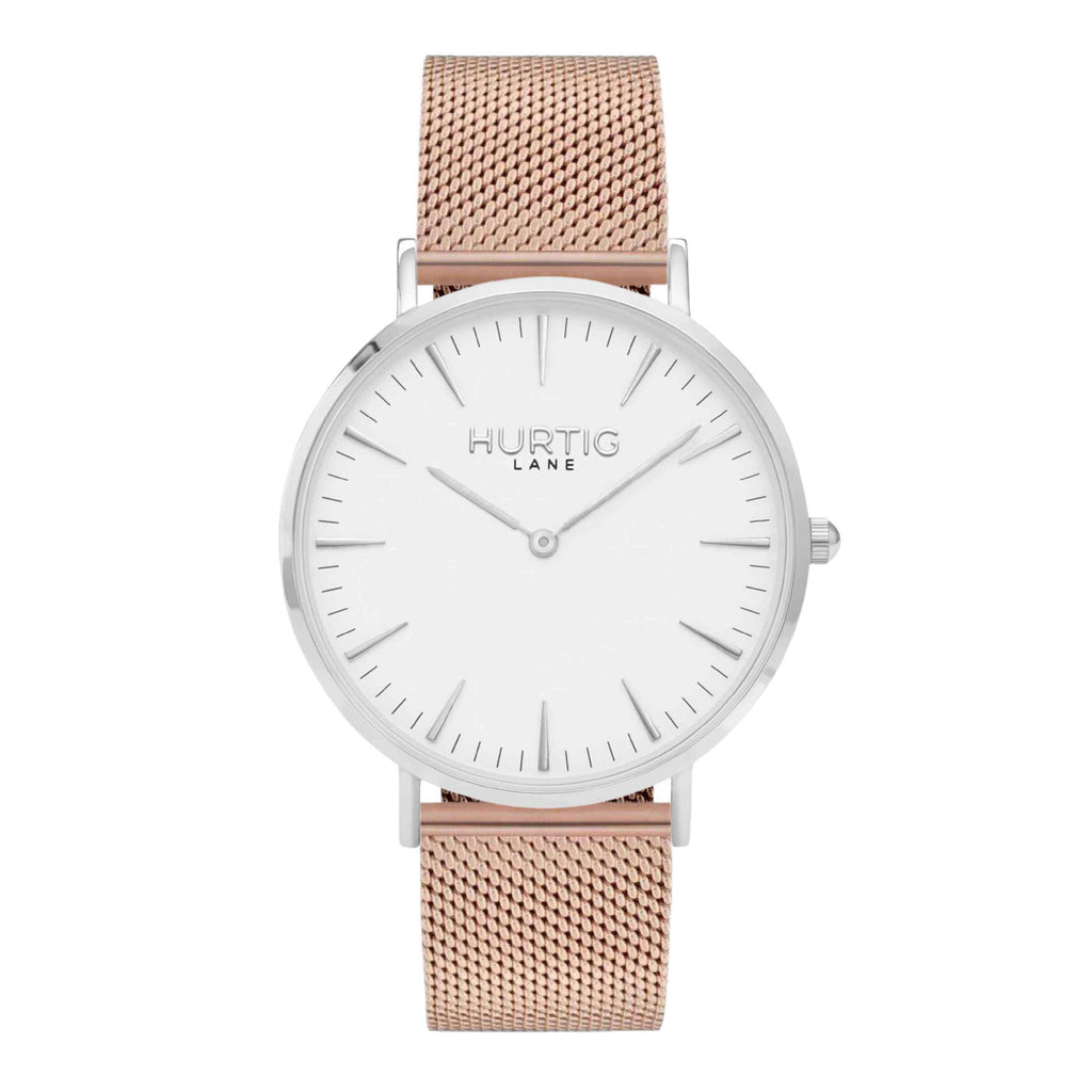Lorelai Stainless Steel Watch Silver, White & Rose Gold - Hurtig Lane - sustainable- vegan-ethical- cruelty free