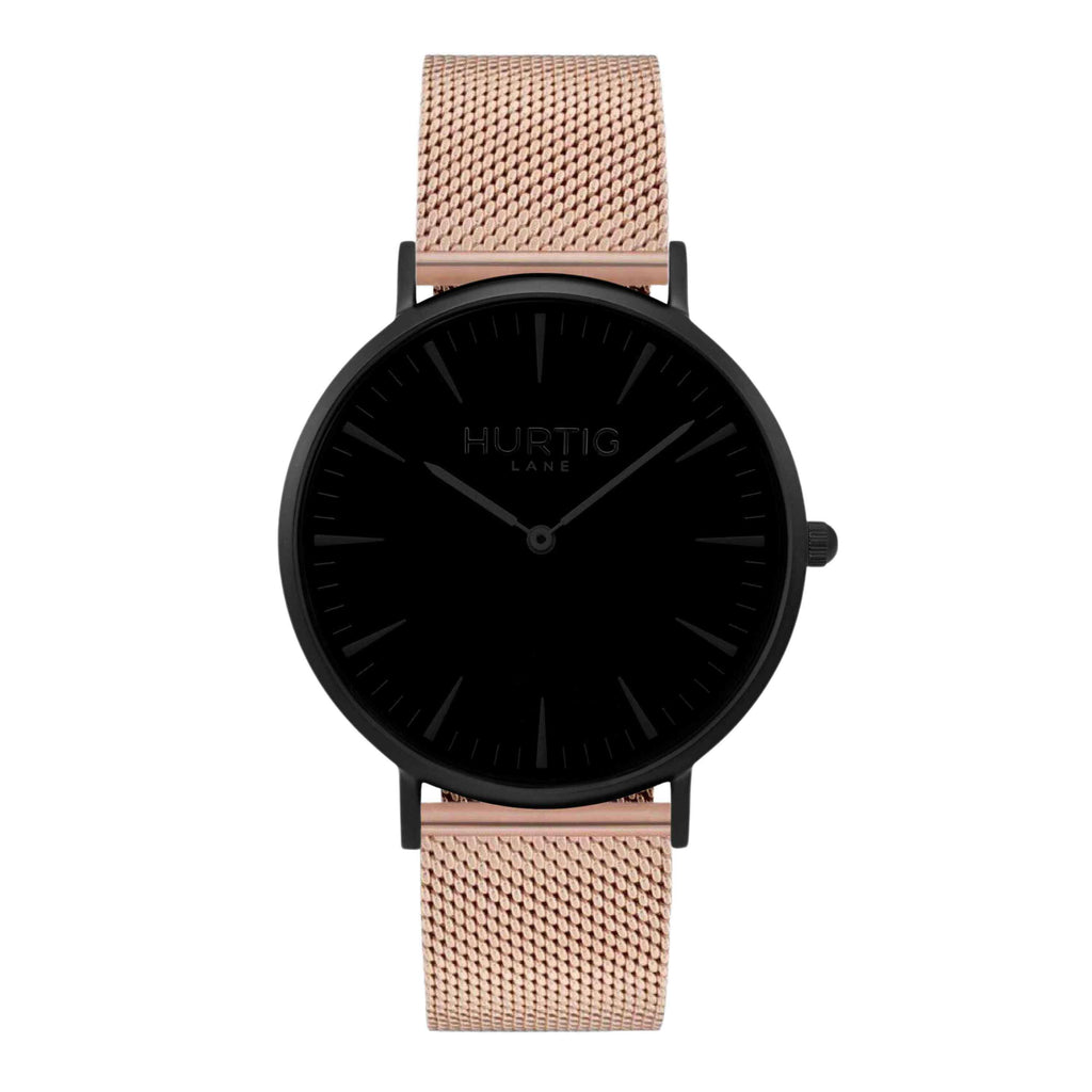 Lorelai Stainless Steel Watch All Black & Rose Gold - Hurtig Lane - sustainable- vegan-ethical- cruelty free