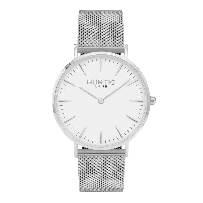 Lorelai Stainless Steel Watch Silver, White & Silver - Hurtig Lane - sustainable- vegan-ethical- cruelty free